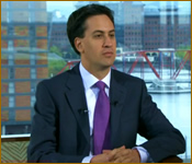 Ed Miliband with a purple tie
