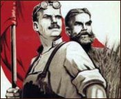Detail of a Poster Showing Soviet Workers